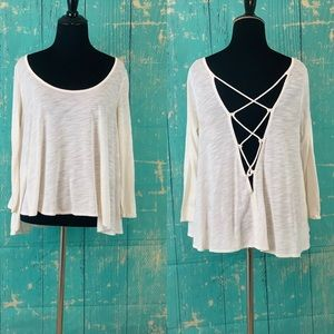 American Eagle Ivory Lace Up Back Oversize Top